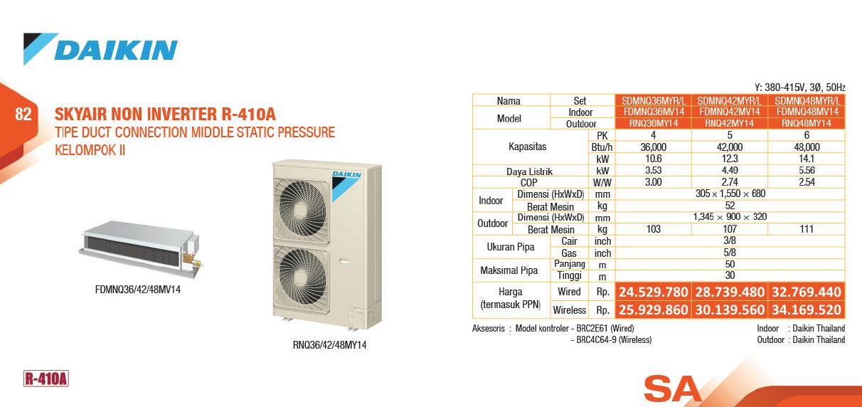 AC Split Duct Middle Static Non Inverter R410A 3 Phase 2 - Global Teknik - Service Resmi Daikin