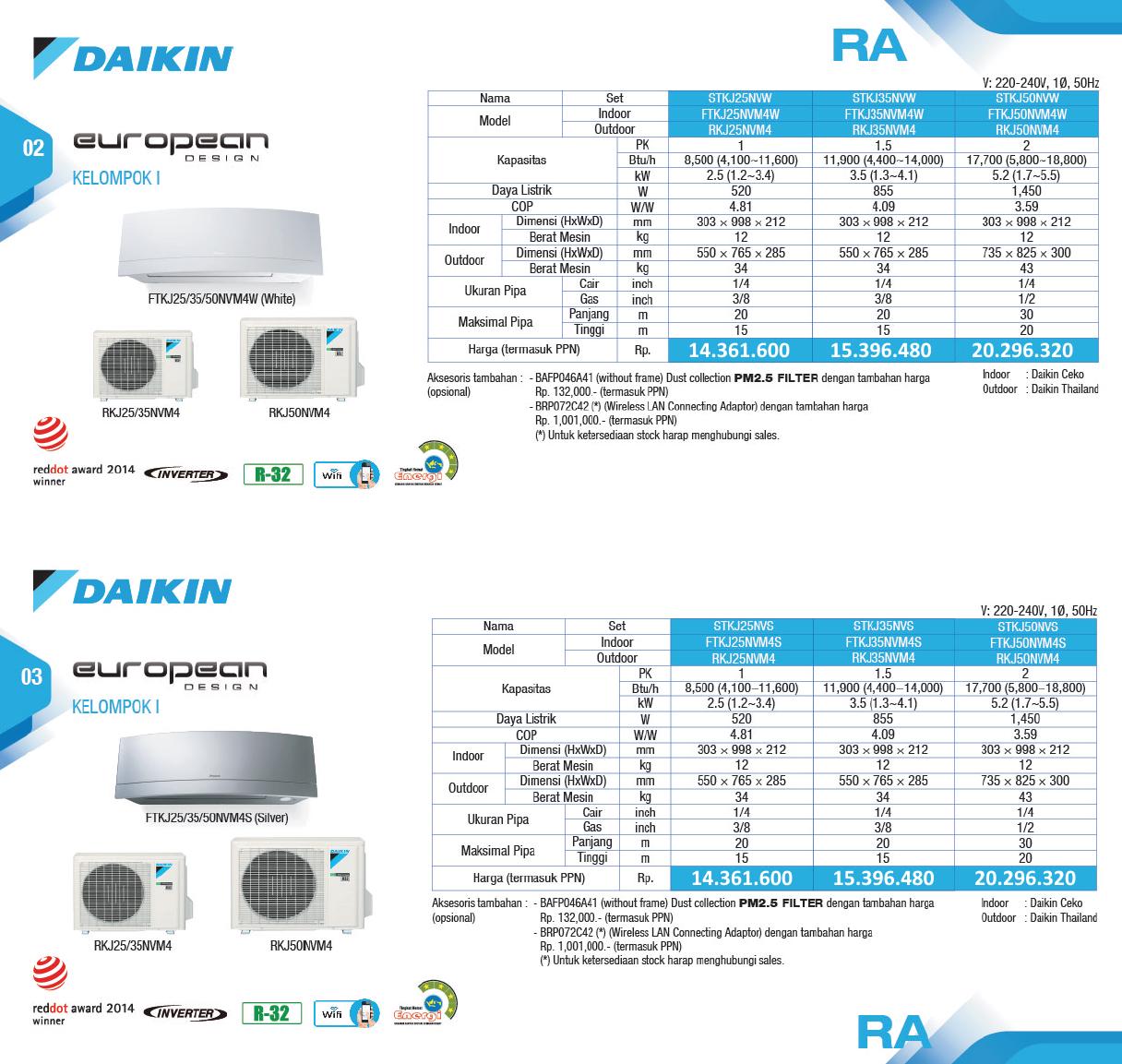 Harga AC Daikin European Design - Service AC Daikin - Toko AC Daikin
