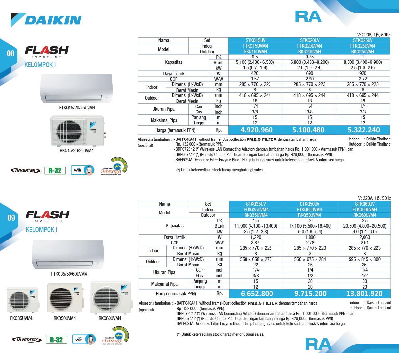 Harga AC Daikin Flash Inverter - Service AC Daikin - Distributor AC Daikin