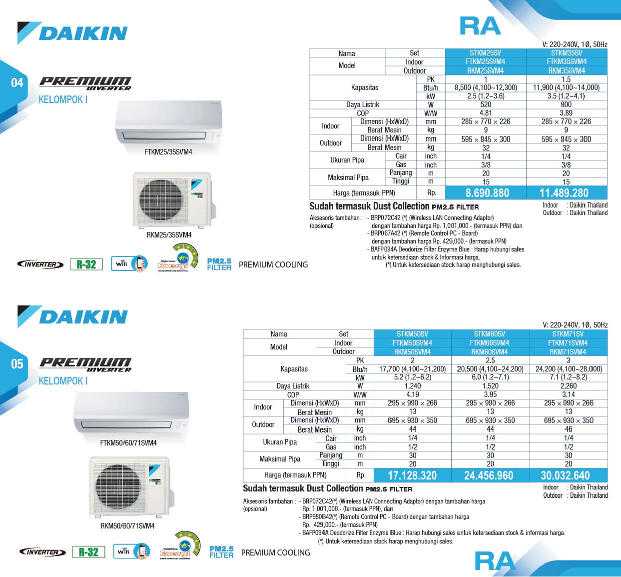 Harga AC Daikin Premium Inverter - Service AC Daikin - Distributor AC Daikin