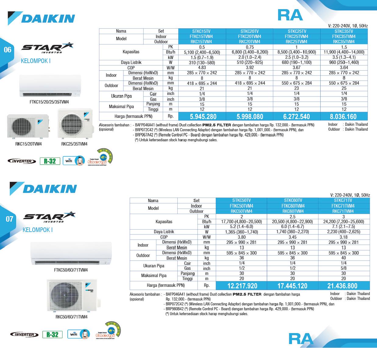 Harga AC Daikin Star Inverter - Distributor AC Daikin - Service AC Daikin