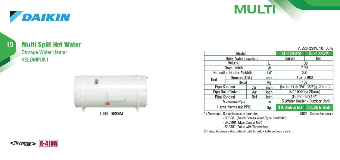 Multi Split Hot Water - Storage Water Heater - Harga AC Daikin - Service AC Daikin - Global Teknik